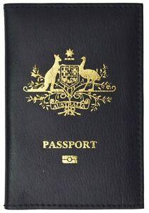Australia Passport Cover Genuine Black Leather Passport Wallet CC Slots all new