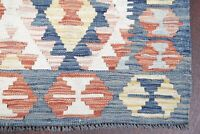REVERSIBLE 9 ft Kilim Turkish Runner Rug South-west Retro IVORY TEAL BLUE 2'x9'