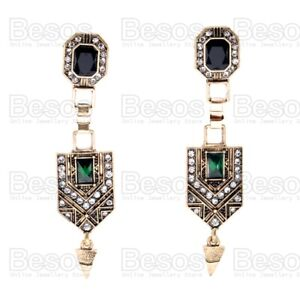 Antique Style Crystal Dropper Earrings Emerald Green Vintage Gold Fashion UK