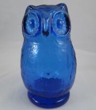 PV02198 Pilgrim Glass Blown OWL Paperweight- Cobalt Blue