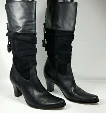 ANA Black Boots Leather and Suede Solid High Heel Knee Western Size 8M