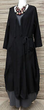 "LAGENLOOK 100% COTTON OVERSIZE LONG CARDIGAN*BLACK*BUST UP TO 54""OSFA L-XL-XXL"