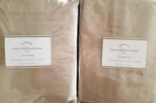 """2 Pottery Barn Linen Silk Blend 3-in-1 Pole Top Drapes ~ 50"""" X 96"""" ~ TAUPE"""