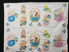 New listing Vintage Easter Bunny Rabbits Cotton Fabric Panel Hallmark Project Too Cute