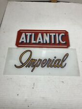 IMPERIAL & ATLANTIC Gas Pump Advertising Glass Inserts 1 Each