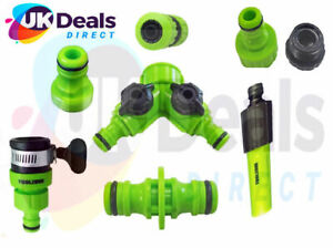 Garden Hose Attachments Nozzle, Tap End, Water Stop Connector 2way tap adaptor *