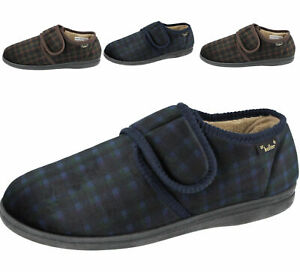 Dr Keller Mens Slippers Warm Comfy Lightweight Touch Strap Full Slippers Shoes