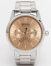 NEW-HUGO BOSS HERITAGE SILVER TONE,MULTI FUNCTION BRACELET WATCH 1513128