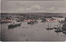 Malta Real Photo RPPC. Malta Grand Harbour. Royal Navy Ships in Harbour. c 1905