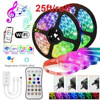 50FT Flexible LED Strip Lights WIFI 5050 Music Sync 7.5M/Roll with Remote White