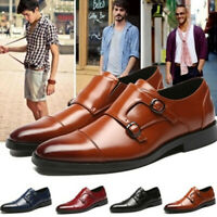 Men Pointed Toe Formal Dress Leather Double Buckle Brogues Monk Strap Shoes
