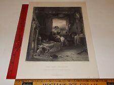 Rare Antique Original VTG 1859 Ladies Home Expected C Cousen Engraving Art Print