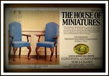 DOLL HOUSE OF MINIATURES CHIPPENDALE OPEN ARM CHAIRS KIT, ANTIQUE REPLICA