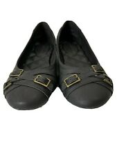 Rampage Womens Black Flats Shoes Size 6M Triple Brass Buckle Accent