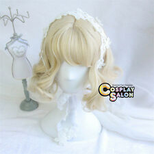 30CM Lolita Light Blonde Curly Lady Party Cosplay Hair Wig Heat Resistant+Cap