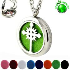 Aromatherapy Essential Oil Diffuser Necklace Cross Locket Pendant With 8 Pads