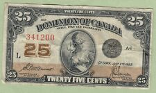 1923 Dominion of Canada 25 Cents Note - McCavour/Saunders - 341200 - Fine