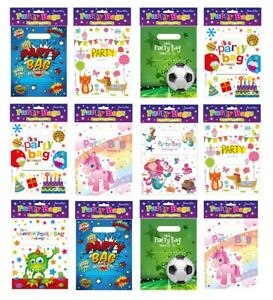 10 CHILDRENS PARTY LOOT BAGS THEMED BOYS GIRLS FOOTBALL UNICORN MONSTERS