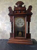 Antique New Haven Striking Ginger Bread  Mantel Clock Winds Ticks Chimes Runs