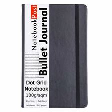 Dot Grid Bullet Journal For Women Medium  A5 Notebook Black Leather Cover Bujo