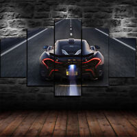 Framed Audi R8 V10 Black Super Car Poster 5 Piece Canvas Print Wall Art Decor