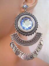 New BEBE in Antique Silver Blue Stone Earrings Сережки Neu Ohrringe