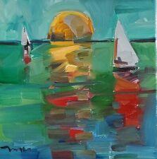 JOSE TRUJILLO Oil Painting SUNSET SAILBOAT MODERN FINE ART COLLECTIBLE ARTIST