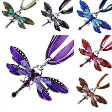 Rhinestone Charms Necklace Sliver Plated Enamel Dragonfly  Pendant