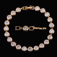 CWWZircons CZ Weiß Kristall Gold Verbundene Kettenglied-Armbänder für Frauen