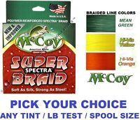McCoy Fishing Line Braid 150 Yard Bulk 300 YD Spools Any Color Braided LB Test