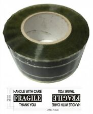 """5 Industrial Carton Sealing Tape Fragile Handle w Care (3"""" x 220 Yds 2.2 Mil)"""