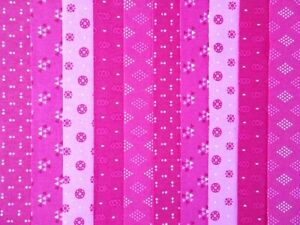 20 JELLY ROLL STRIPS COTTON PATCHWORK FABRIC 22 INCH LONG ~ BRIGHT PINK