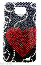 Galaxy S2 Premium with Bling Diamante Red Heart and Black Design