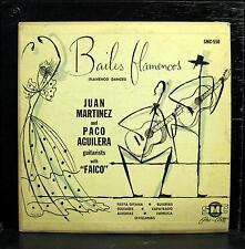 "JUAN MARTINEZ PACO AGUILERA & FAICO bailes flamencos 10"" VG+ SMC-550 Latin Grail"