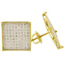 Men's Real 10k Gold Genuine Diamond Square 13mm Earrings Hip Hop Iced Out Bling