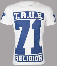 True Religion Mens T-shirt True 71 Stars White Royal Blue Cracked Print 2xl