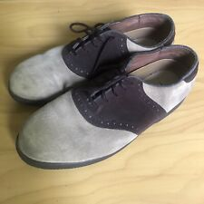 Used Mens Hush Puppies Size 10 E Brown Two Tone Suede Oxford Shoes