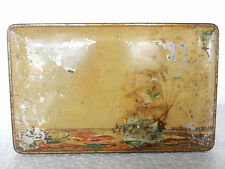 Vintage Sail Boat Ship In Sea Litho Mackintosh Toffee Ad Tin Box
