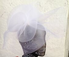white fascinator millinery burlesque wedding hat hair piece ascot race bridal