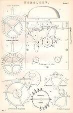 1880 Stampa ~ Orologeria ~Orologi~ Striking Parte di Orologio GRAHAM'S Dead Beat
