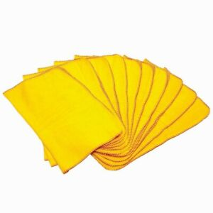 10 X 100% Soft Cotton Yellow Dusters Polishing Cleaning Dust Cloth Towels UK