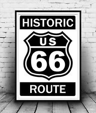 Route 66 Historic route sign ,  Mother road poster reproduction.