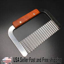 "7.25"" Stainless Steel and Wood Wavy Soap Cutter ~ US Seller"