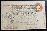 1901 Salinas Cruz Oaxaca Mexico Stationery Postcard cover To Berlin Germany