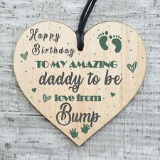 Daddy To Be Hanging Wooden Heart FATHERS DAY Gift Him Daughter Thank You 003