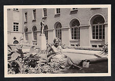 Antique Photograph Sexy Young Woman Sitting on Ground By Beautiful Building