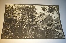 Rare Antique / Vintage Malay Village Black & White Photo! ID'd in Ink! Landscape