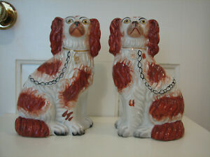 "Staffordshire Dog - 19th Century 8-1/2"" Red & White Spaniel Pair - Circa: 1850's"