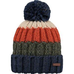 Mens Barts Wilhelm Bobble Knit Beanie Ski Hat Blue/Red