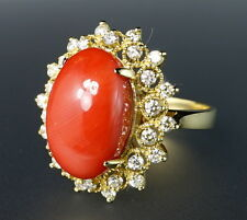 $9975 14K Yellow Gold Diamond 5.5ct Nat Orange Red Coral Navette Halo Ring VIDEO